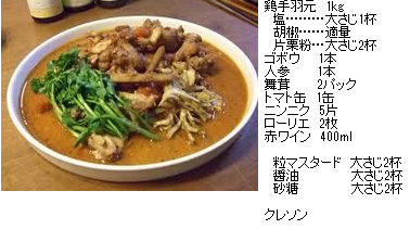 美肌レシピ 鶏ごぼう赤ワイン煮込み