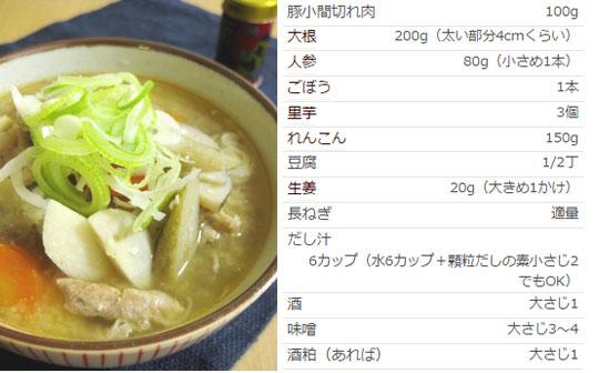 冷え症レシピ 根菜づくしの生姜入り豚汁