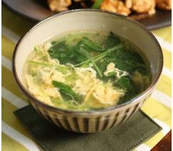 三つ葉とたまごの中華風スープ