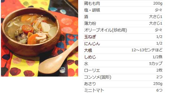アサリと鶏の旨味たっぷり具だくさんスープ